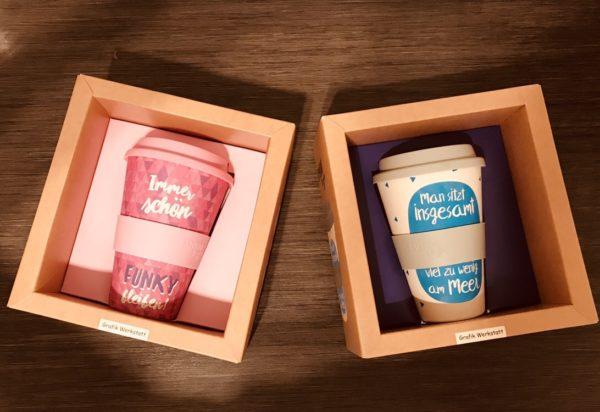 Bambus Tee- und Kaffebecher für Herrchen und Frauchen :)